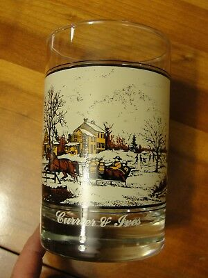 "Vintage Currier  And Ives Arby Drinking Glass 1981 ""american Farm In Winter"""
