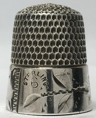 Simons Sterling Thimble - Wide Engraved Band Bright-cut Designs cat.#41AD c1880s