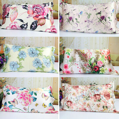 Both-Sides Mulberry Silk Pillowcase Covers Floral Printed Queen Anti-Ageing 1pcs