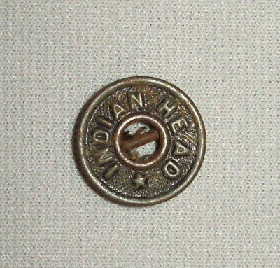 Antique Vtg Old 1910s Indian Head Brass Button Workwear Clothing Coat Denim Pant