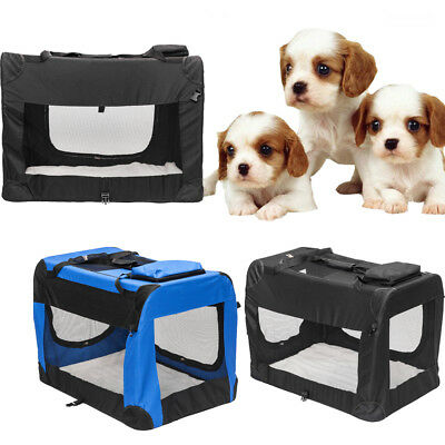 S M L XL 2XL 3XL Dog Crate Sided Pet Cat Carrier Kenne Cage House Black/Blue