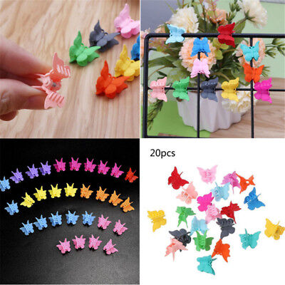 20PCS Mini Hair Claws Multi Colors Hair Clips Butterfly Shape Hair Clamps New