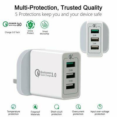 3Port Fast Charging Quick Charge QC 3.0 USB Hub Wall Charger Adapter Uk Plug