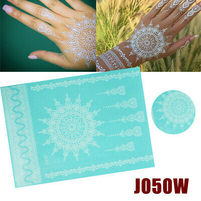b4d84f40b9be Womens Waterproof Henna Lace Flower Arm Hand Temporary DIY Fake Tattoo  Stickers
