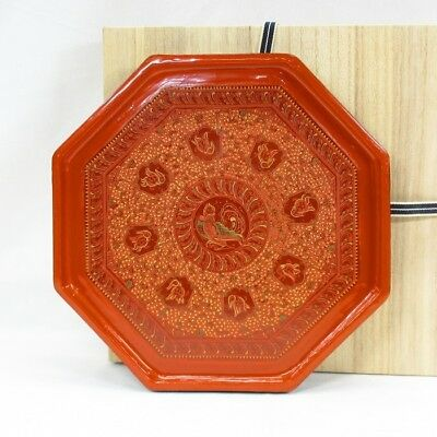 B177: Japanese octagonal plate of SANUKI lacquer ware of very good KINMA work