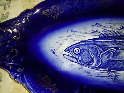 "VRARE ANTIQUE VICTORIAN PORCELIAN 21"" Fish Platter Blue White Gold Hand Painted"