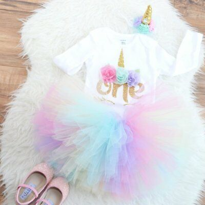 UK Baby Girl First 1st Birthday Gift Party Dress Outfits Tutu Skirt Bow Headband