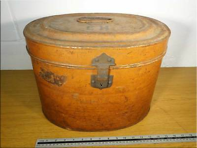 Antique Victorian Tin Hat Box Good Original Luggage Storage Container Vintage UK