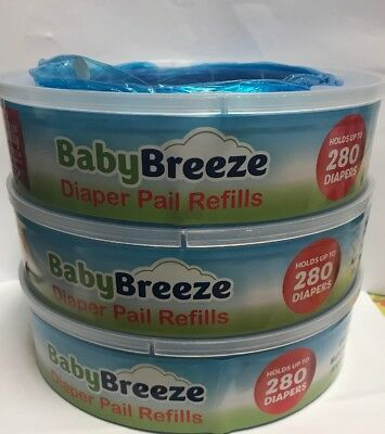 Diaper Baby Breeze Pail Refill Bags Playtex Genie Disposal 840 Count 3 Pack Set