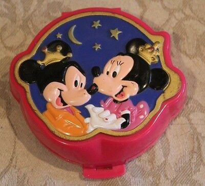 Vintage Disney Bluebird 1995 Polly Pocket Minnie & Mickey Mouse Playcase Compact