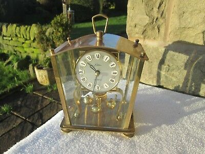 Kern U Sohne Anniversary Clock, Lovely Lantern Brass & Bevelled Glass. (Working)