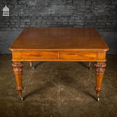19th C Mahogany Library Table with Carved Legs and Castors