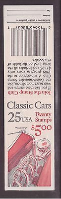 USA 1988 Booklet   Classic Cars mint stamps complete ,open