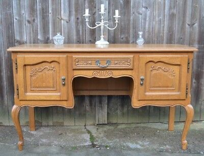 French Louis XV Style Oak Dressing Table Carved Ooak Kneehole  Writing Desk