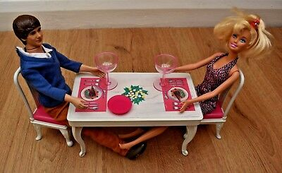 Barbie & Ken Doll Date Night Diner Set Table & Chairs Furniture