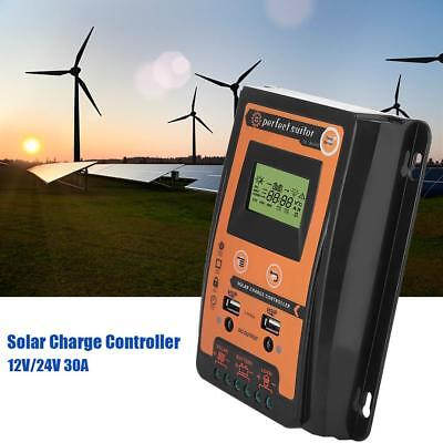 12/24V 30A Solar Charge Controller Panel Battery Regulator Dual USB LCD Display