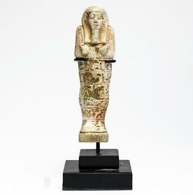 Provenanced Egyptian faience shabti with hieroglyphs: Circa 6th-4th century BC.