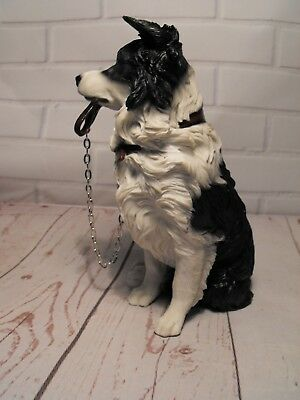 Border Collie Dog Figurine Ornament Figure Black And White Sheepdog Figure Gift