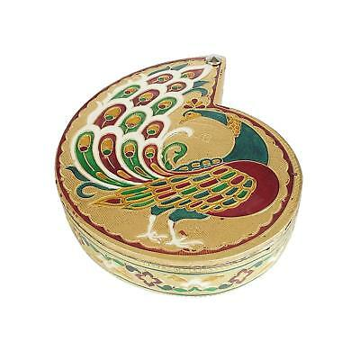 Dry Fruit Box Peacock Shaped Decorative Handmade Meenakari Box  1.3 inches