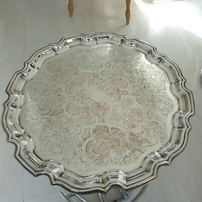 Vintage Chased Silver Plate 14.5 Inch Large Tray Salver Waiter Fluted Border Edg