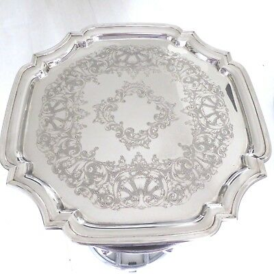 Vintage Chased Silver Plate 13.5 Inch Large Tray Salver Waiter Fluted Border Edg