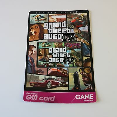 Grand Theft Auto Gta Iv (4) - Exclusive To Game Limited Edition Promo Gift Card