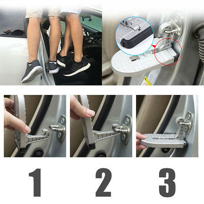 Silver Car Doorstep Roof Ladder Foot Stand Door Latch Step Rooftop Pedal Aluminu