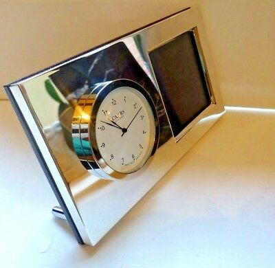 Hallmarked Silver Picture Fram Clock Made By Carrs Of Sheffield