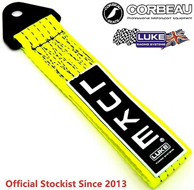 LUKE Flu. Yellow Tow Strap Towing Rope Pull Drift Track Race Hook Msa Euro JDM