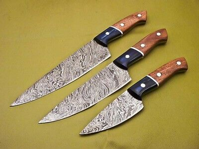Rody Stan HAND FORGED DAMASCUS CHEF FULL TANG SET -LOT OF 3 - SM-5397