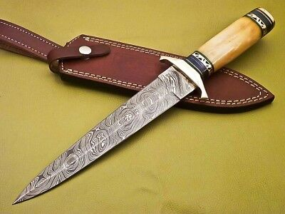 Rody Stan CUSTOM HAND MADE DAMASCUS DAGGER KNIFE - BRASS GUARD - SM-5657