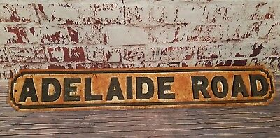 Antique Old Industrial Reclaimed Cast Iron Victorian Street sign ADELAIDE ROAD