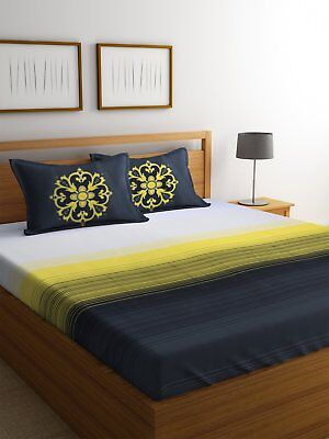 Stripe Printed Fitted Sheet Super King Double Cotton Bed Sheet Bed Cover
