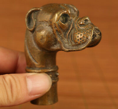 Rare old bronze hand carving dog figure statue cane walking stick head