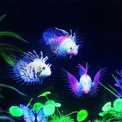 New Glow In Dark Fake Aquarium Lionfish Luminous Fish Tank Decor Supplies Hot PS