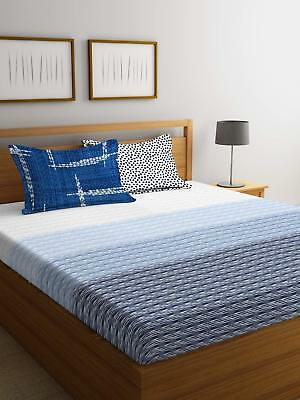 Ikkat Printed Fitted Sheet 144 Tc King Size Double Cotton Bed Sheet Bed Cover