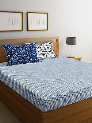 Printed Fitted Sheet 144 Tc King Size Double Cotton Bed Sheet Bed Cover