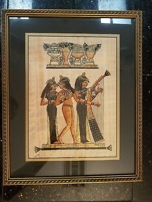 Lot of 2: Egyptian Papyrus Custom Framed Art by ABW-EI-HOOL and Scarab