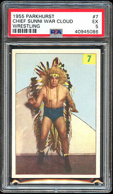 1955 Parkhurst Wrestling #7 Chief Sunni War Cloud.  PSA 5  Centered.