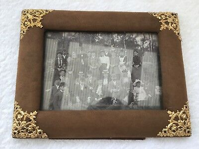 Antique leather suede picture photo frame gilt pattern