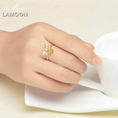 LAMOON Honey Bee Resizable Oval Citrine Ring 100% S925 Silver Animal Shape NZ