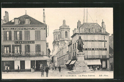 CPA Langres, la Place Diderot 1914