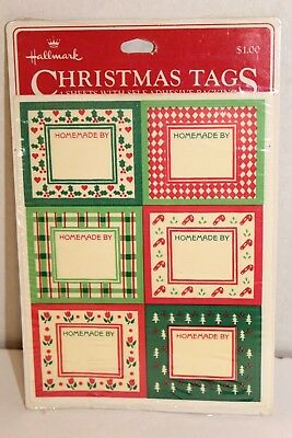 Vintage Hallmark Stickers Homemade by tags Christmas baked goods crafts 24 NOS