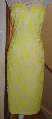 River Island Yellow Textured Lace Effect Stretchy Strapless Dress Size 18 Bnwot