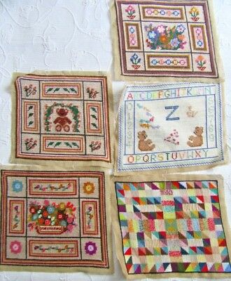 MIXED LOT 5 X vintage completed needlepoint tapestry PANELS FOR PROJECTS 12 X 10