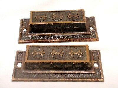 Pair of Antique Cast Bronze Ornate Drawer Handles Pulls