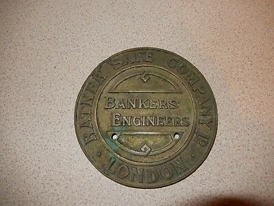 Safe Plaque Brass - Ratner Safe Company London Bankers' Engineers - See Pictures