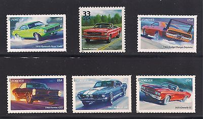 1960s MUSCLE CAR STAMP COLLECTION - SET OF 6 - MUSTANG CUDA CHARGER GTO CHEVELLE