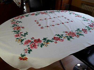 Ancienne nappe N05 coton 126X148 Monogr YP VINTAGE 50  OLD COTTON TABLECLOTH