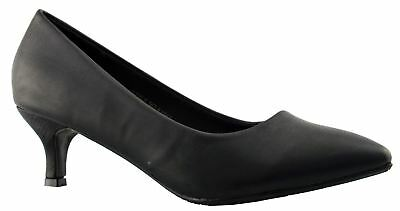 Ladies Womens Courts Shoes Low Heel Slip On Wide Fit Formal Size